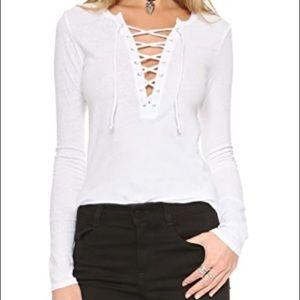 Pam & Gela Long Sleeve Lace Up Tee White sz S
